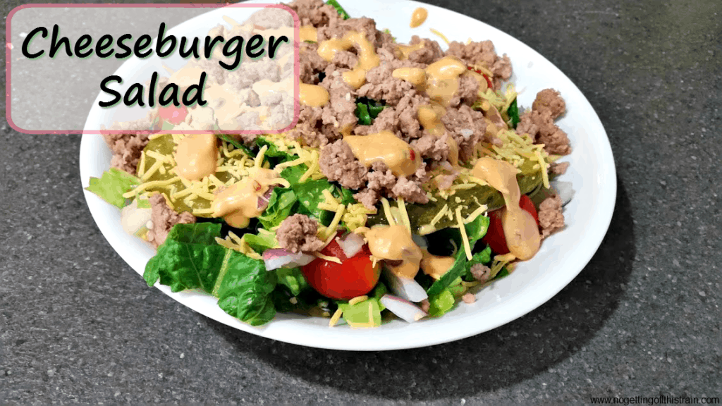 This cheeseburger salad tastes just like a Big Mac! All the elements put together into one delicious salad.