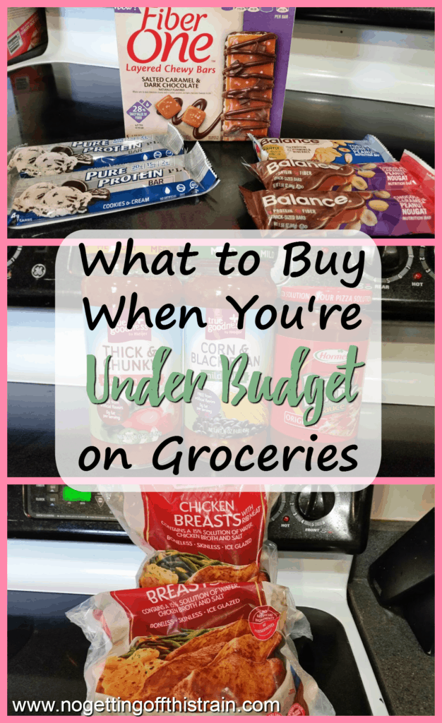 Do you sometimes find yourself under budget on groceries? Use this list of things you can buy to help build your stockpile and save money!