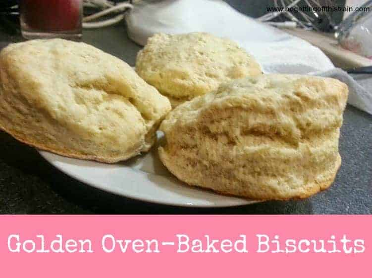 These delicious golden biscuits are perfect with gravy, on a sandwich, or eaten plain! www.nogettingoffthistrain.com
