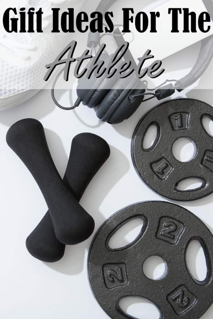 "Weights and headphones laying on the ground with the text ""Gift ideas for the athlete"""