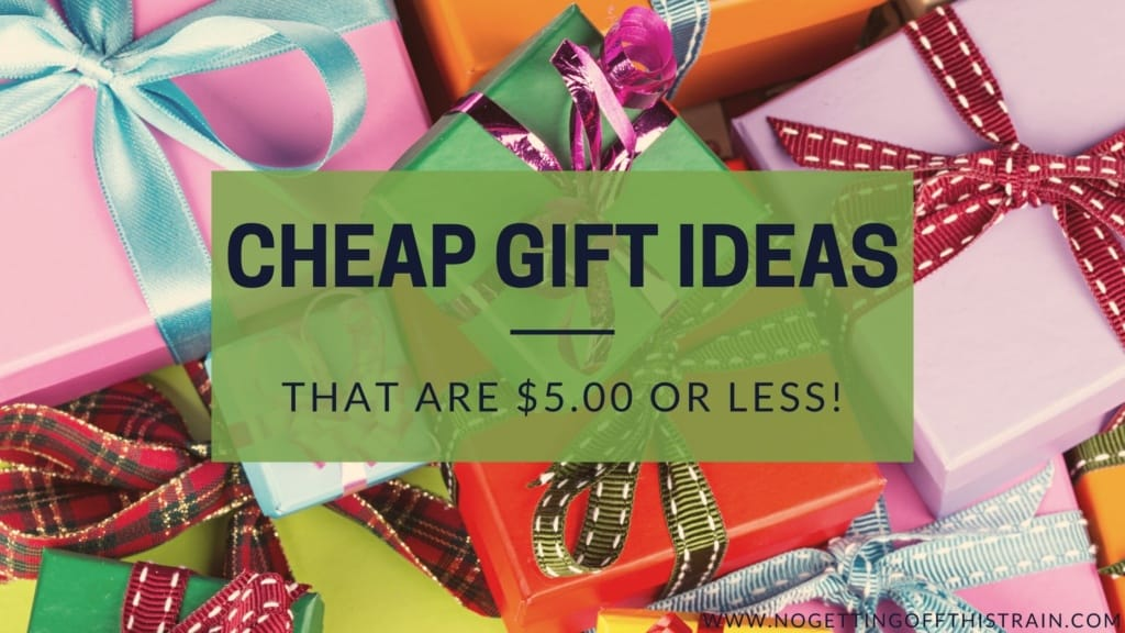 "Gift-wrapped boxes in the background with text: ""Cheap gift ideas that are $5.00 or less"""