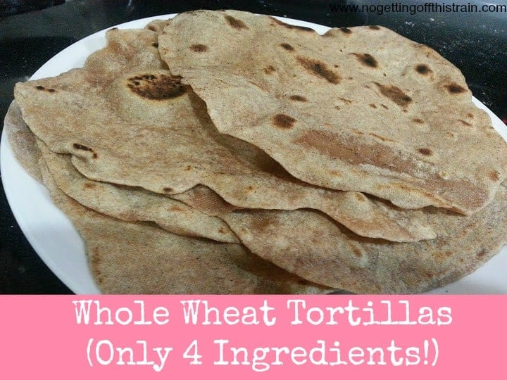 These homemade whole wheat tortilla shells are delicious, contain only 4 ingredients, and cost 54 cents per batch! www.nogettingoffthistrain.com