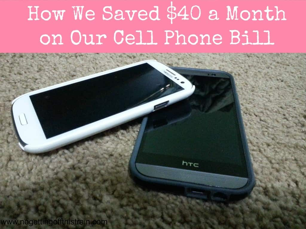 Are you paying too much for your cell phone service? Click to find out how we saved $40 a month on our bill! www.nogettingoffthistrain.com