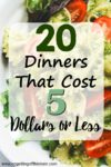 "Image of pasta on a plate with the title ""20 Dinners that Cost 5 Dollars or Less"""