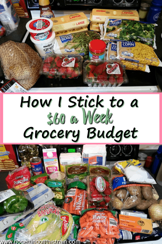 Do you have trouble with overspending on groceries each week? Here's how I stick to a $60 a week grocery budget, including frugal recipes!