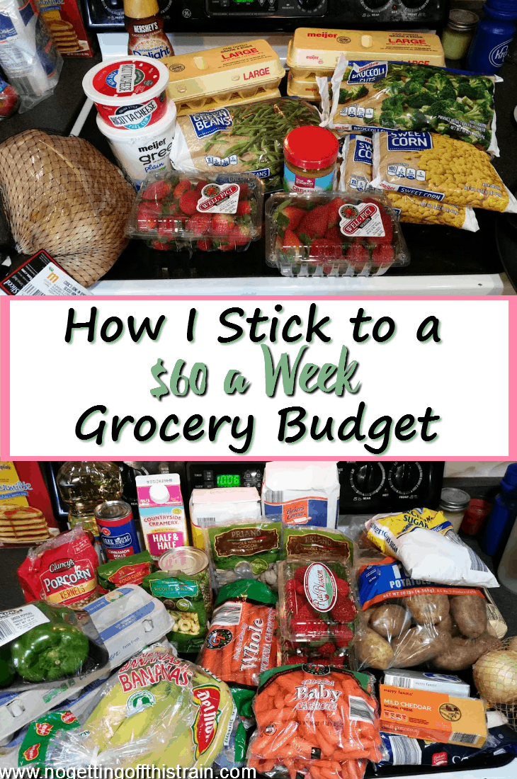 Do you have trouble with overspending on groceries each week? Here's how I stick to a $60 a week grocery budget, including frugal recipes! #budget #groceries #frugal