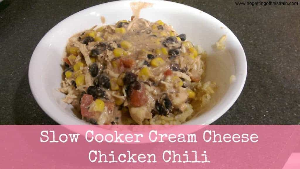 With just a few simple ingredients, this Cream Cheese Chicken Chili is a great dinner for a cold night! www.nogettingoffthistrain.com
