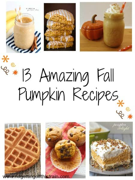 Obsessed with pumpkin? Try one (or all!) of these 13 awesome pumpkin recipes to kick off your start to Fall! www.nogettingoffthistrain.com