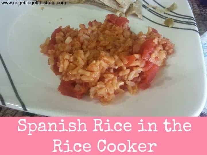 This Spanish Rice only takes 4 ingredients and assembles quickly in your rice cooker! The easiest side item for your Mexican dish! www.nogettingoffthistrain.com