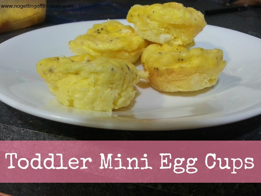 These mini egg cups are perfect for a toddler breakfast! www.nogettingoffthistrain.com