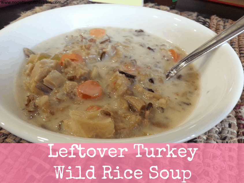 This cream turkey wild rice soup is amazing for using up leftover turkey! www.nogettingoffthistrain.com