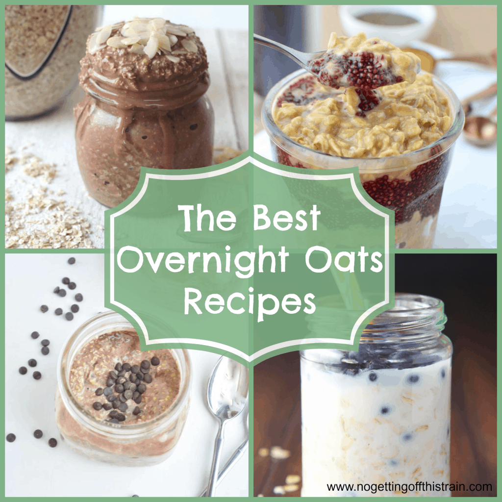 Overnight oats are a great breakfast and are ready when you are in the mornings! Here is a collection of the best recipes. www.nogettingoffthistrain.com