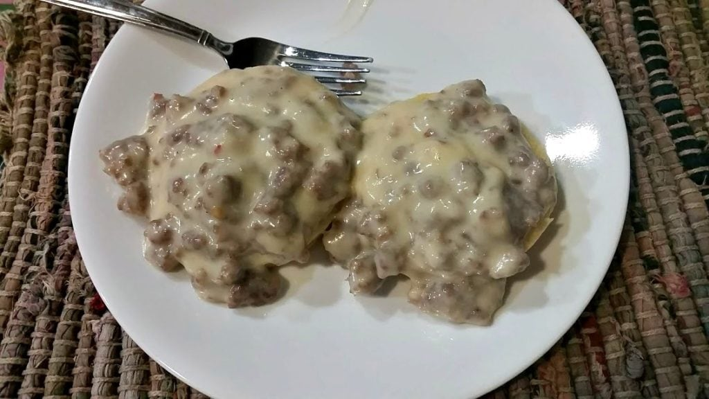 Image of biscuits and gravy on a plate