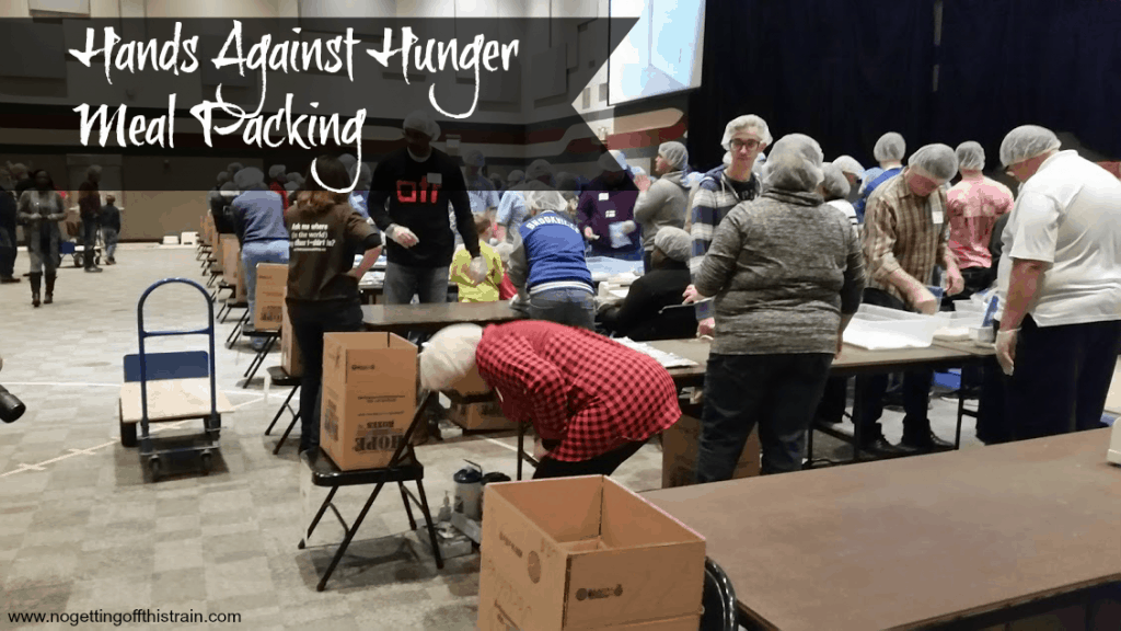 Hands Against Hunger meal packing- www.nogettingoffthistrain.com