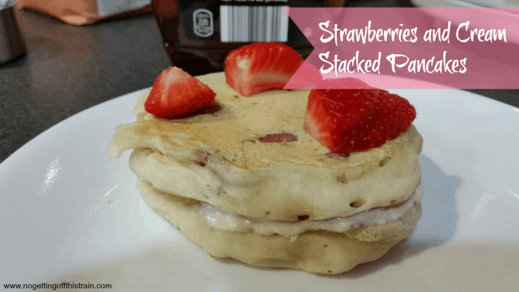 Strawberries and cream stacked pancakes- a great weekend breakfast for the family! www.nogettingoffthistrain.com