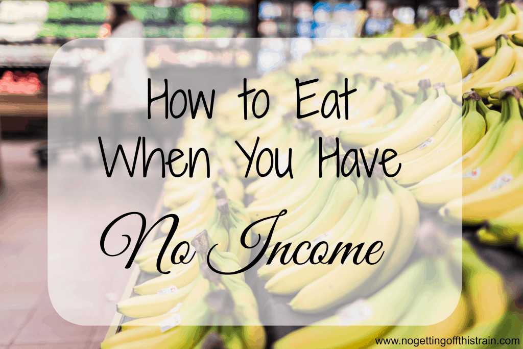 "Image of bananas in a store with the title ""How to Eat When You Have No Income"""