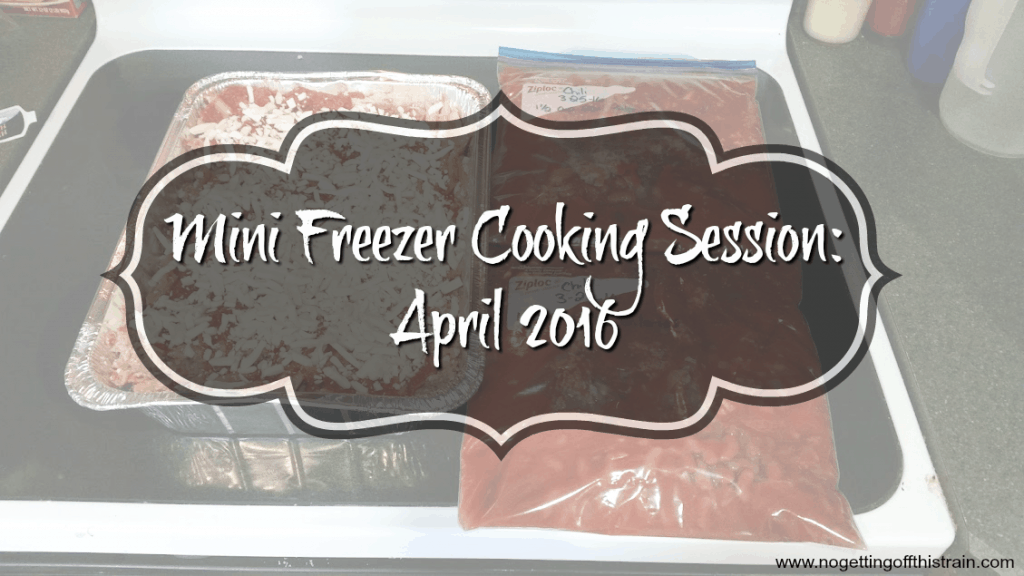 My mini freezer cooking session for April 2016: 13 dinners, plus 16 breakfast burritos! Click for a grocery list and recipes! www.nogettingoffthistrain.com
