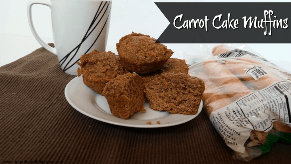 These carrot cake muffins are made with healthy ingredients and a great way to get vegetables in your toddlers! www.nogettingoffthistrain.com