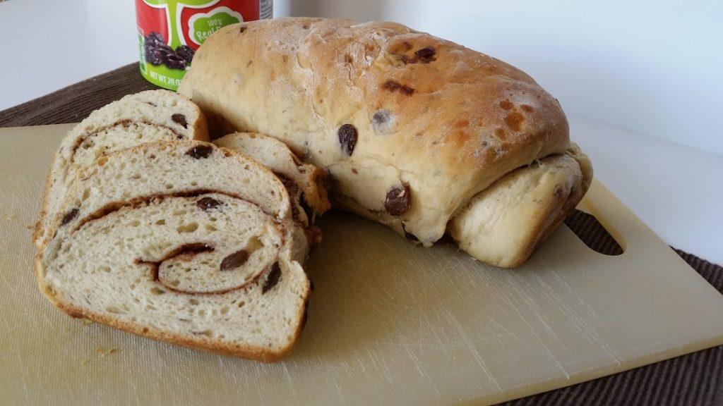 Image of a loaf of homemade cinnamon raisin bread