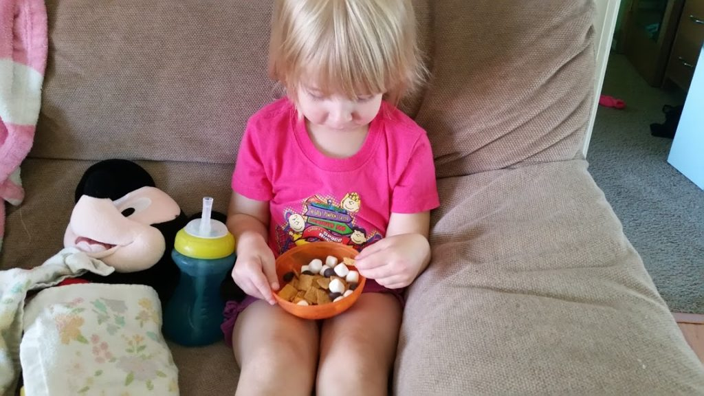 Love S'mores but don't have a fire available? Try this easy S'mores Trail Mix! A great toddler snack! www.nogettingoffthistrain.com