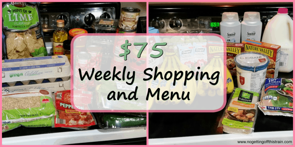 "Image of groceries with the title ""$75 Weekly Shopping and Menu"""
