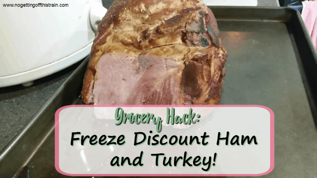 One good way to save money is to buy and freeze discounted ham and turkey! Here are some tips to fill your freezer. www.nogettingoffthistrain.com
