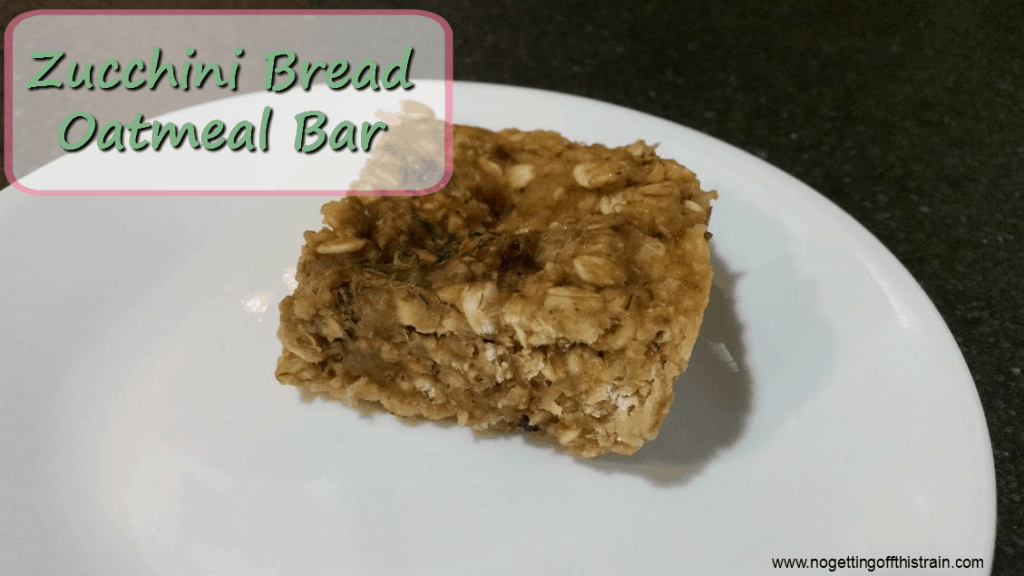 Zucchini bread oatmeal bars are a delicious breakfast and a great way to sneak in some vegetables! www.nogettingoffthistrain.com