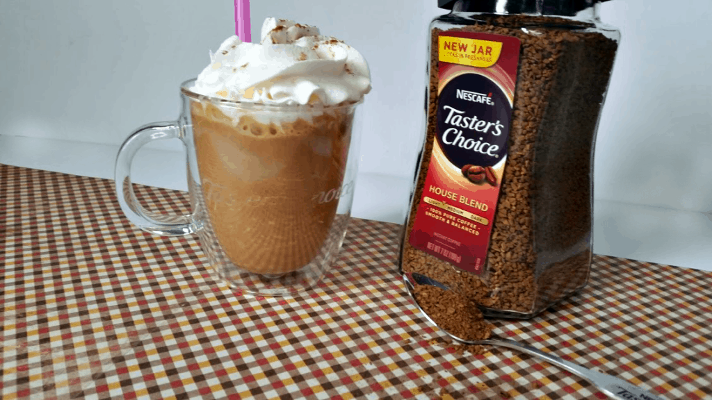 A lighter version of your favorite coffee drink, this Skinny Pumpkin Spice Frappe tastes just like a pumpkin pie and has a secret ingredient to make it easy to prepare! www.nogettingoffthistrain.com AD