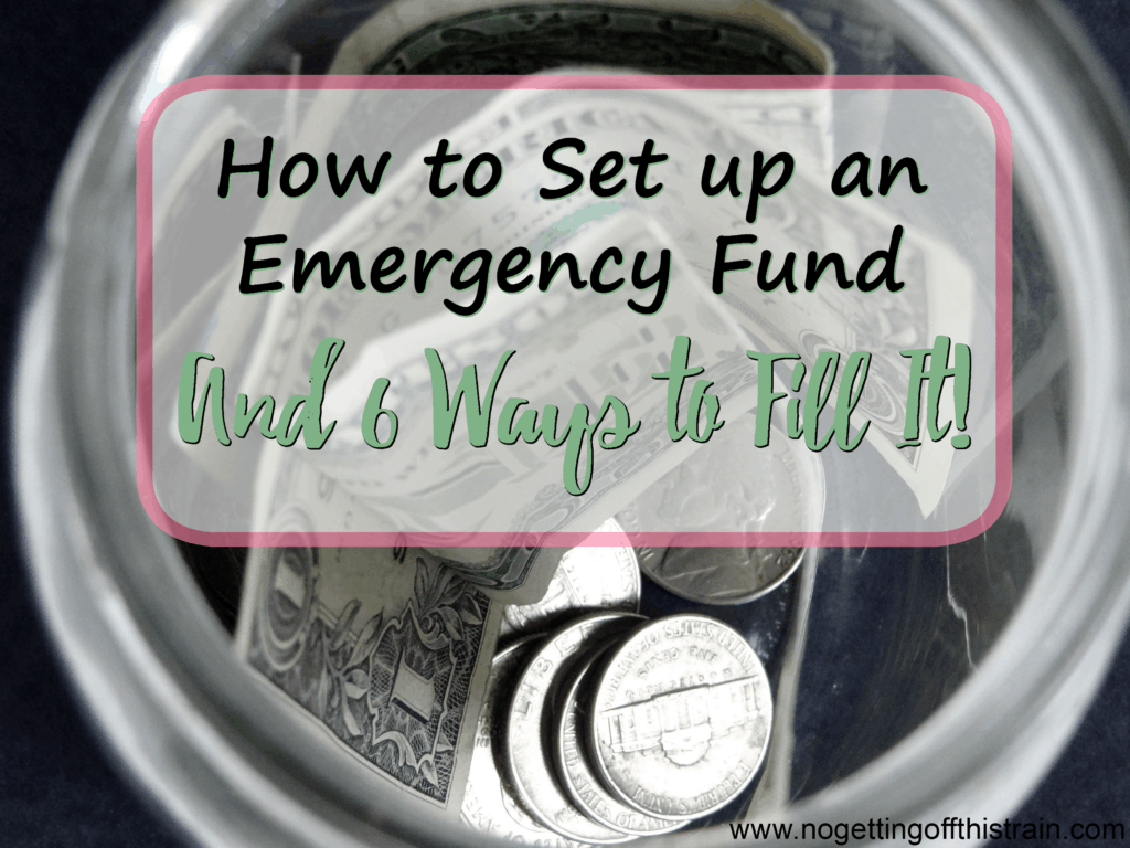 Having an emergency fund gives you a peace of mind knowing you're financially prepared. Here's how to set one up and 6 ways to fill it! www.nogettingoffthistrain.com