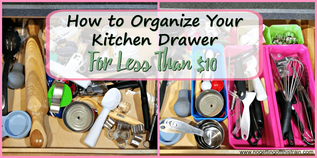 Is your kitchen drawer a disorganized mess? Here's one cheap way I organized my tool drawer for less than $10! www.nogettingoffthistrain.com
