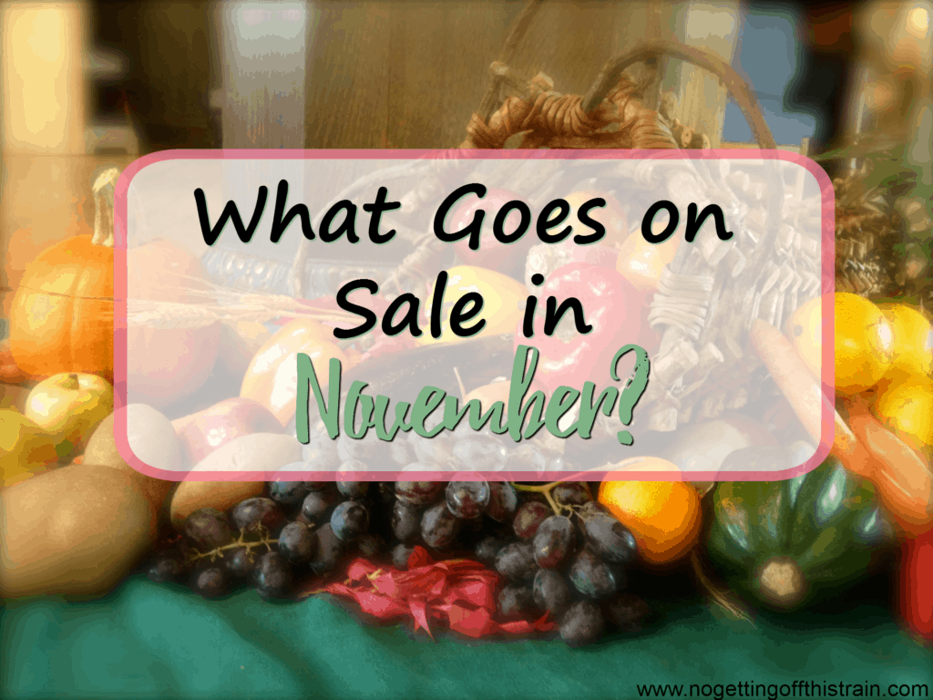 Wondering what goes on sale in November? Here's a list of things you need to stock up on with the upcoming Thanksgiving holiday! www.nogettingoffthistrain.com