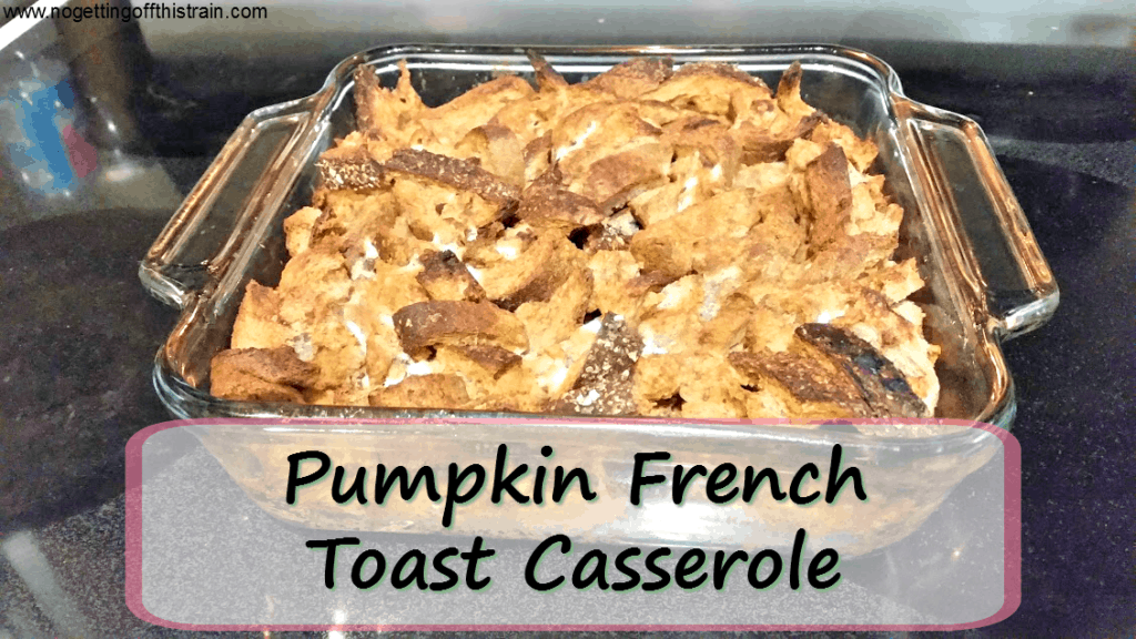This Pumpkin French Toast Casserole is a frugal, easy breakfast and can easily be used with leftover bread pieces! www.nogettingoffthistrain.com