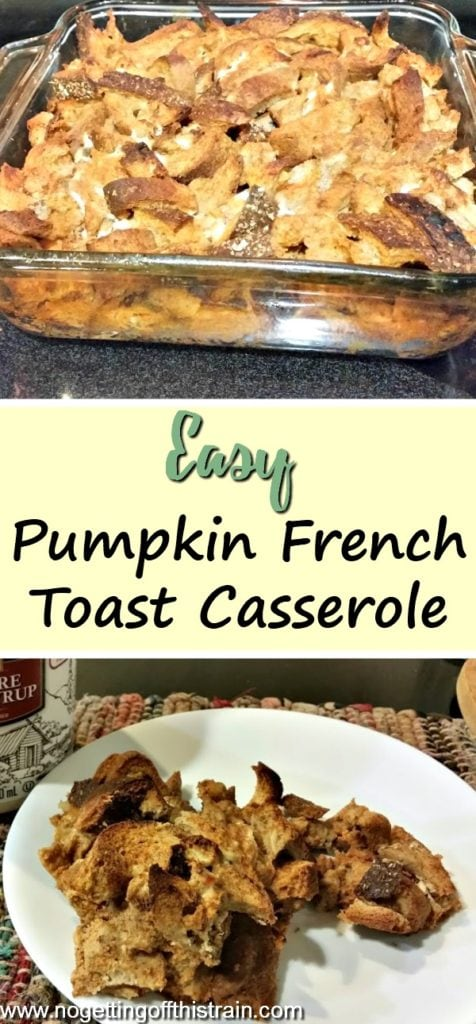 This Pumpkin French Toast Casserole is a frugal, easy breakfast and can easily be used with leftover bread pieces!