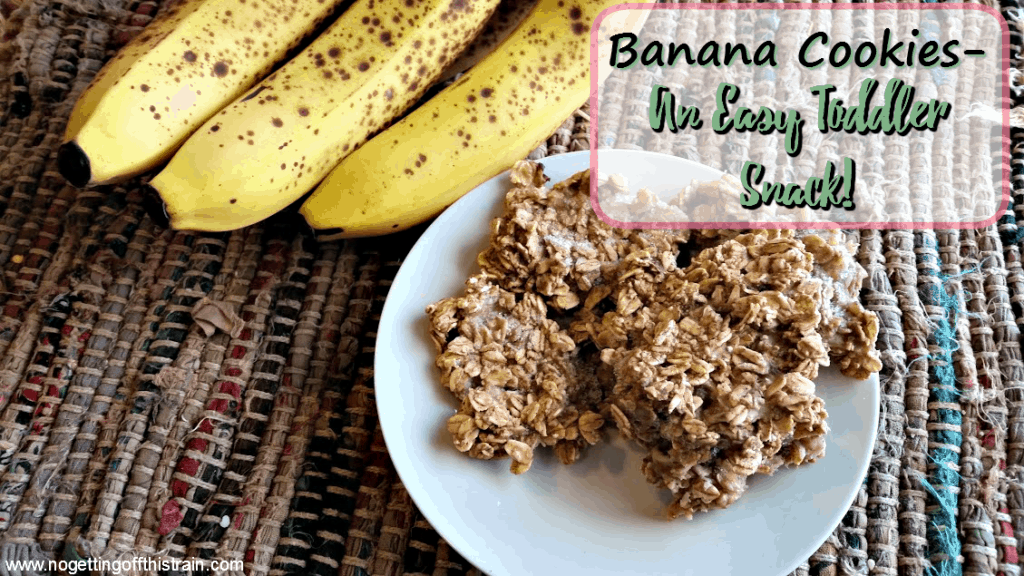 Banana cookies- 3 simple ingredients, no added sugar, and great for toddler snacks! www.nogettingoffthistrain.com