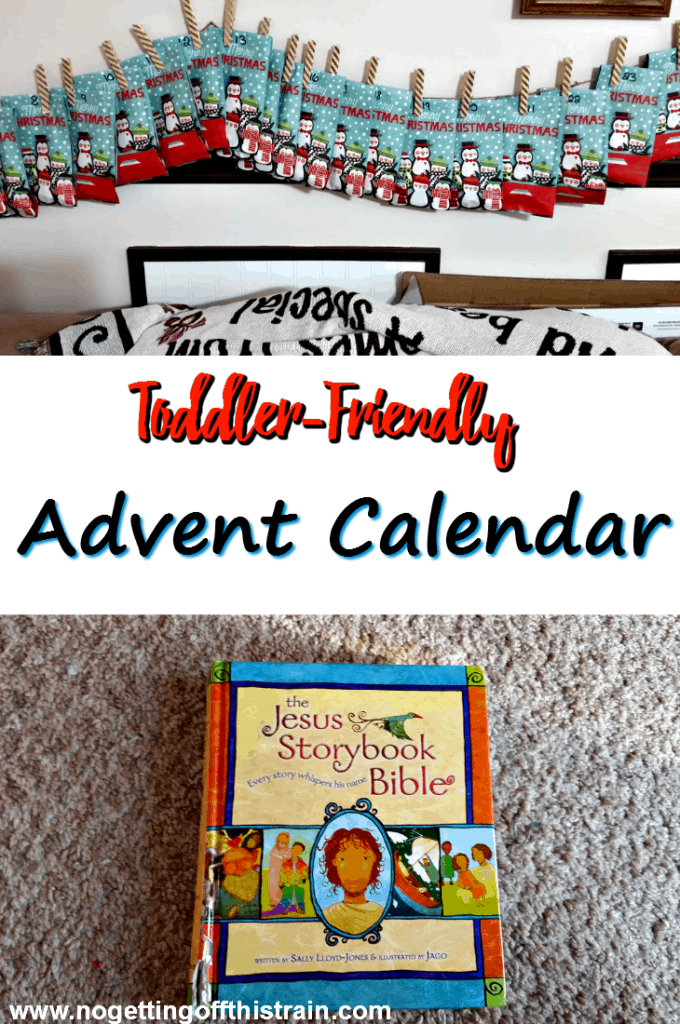 This is a great idea for a toddler Advent Calendar! Treat sacks filled with goodies and an excerpt from the Jesus Storybook Bible. www.nogettingoffthistrain.com