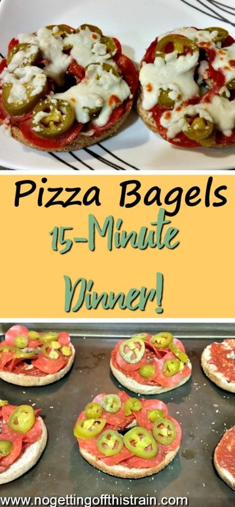 Pizza bagels are an easy and frugal dinner that only takes about 15 minutes to make from start to finish!
