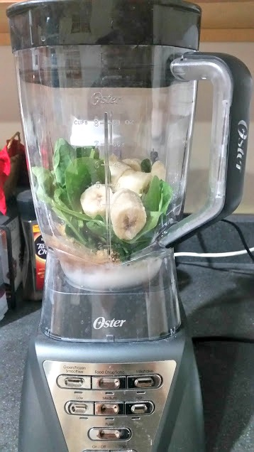 This simple green protein smoothie is a delicious breakfast or post-workout snack! It's full of spinach and lots of protein to keep you full!