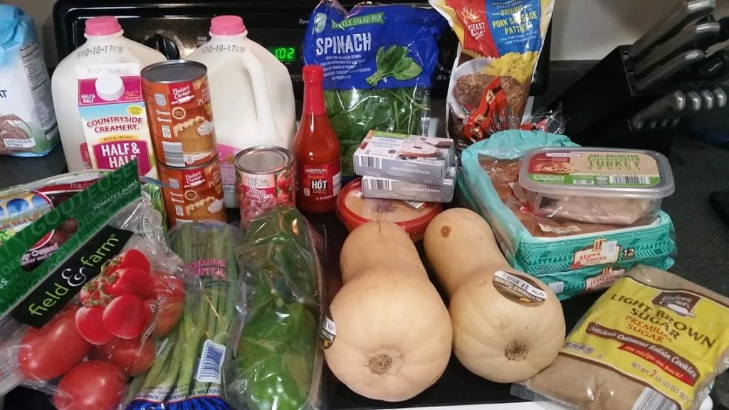 Meal plan, grocery list, and coupon deals for 10-2-17. Want to know what a family of 3 eats for $75 a week? Check back every Monday!