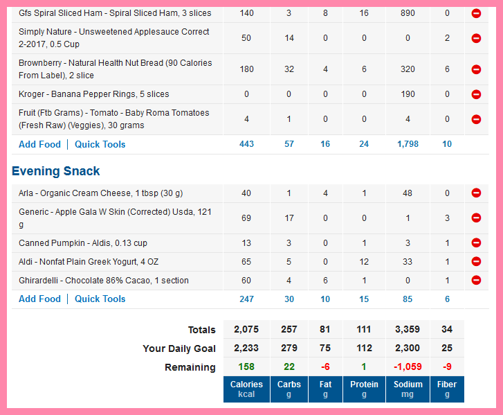 Screenshot of food entered into MyFitnessPal