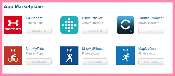 Screenshot of linked apps to MyFitnessPal