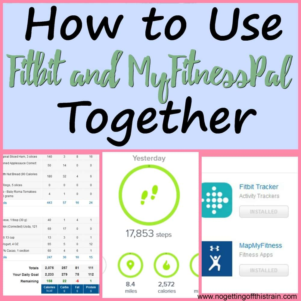 "Image of screenshots of Fitbit and MyFitnessPal with the title ""How to use Fitbit and Myfitnesspal together"""
