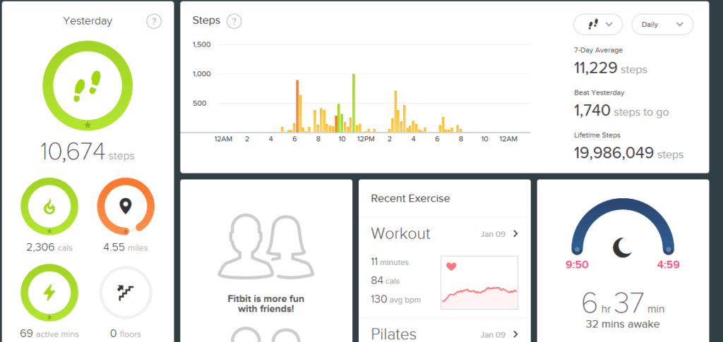 Screenshot of Fitbit exercise