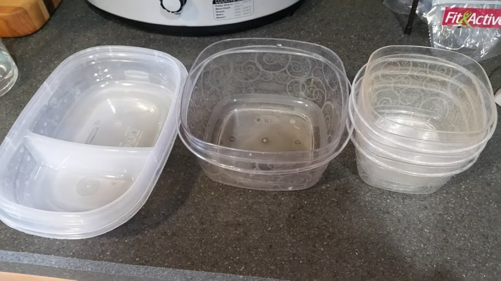 Image of Tupperware containers on a kitchen counter
