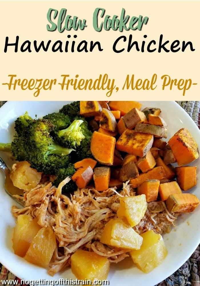 This Slow Cooker Hawaiian Chicken is an easy 3-ingredient summer dinner and is great for weekly meal prep or freezer meals! Keep your house cool when the weather is hot!