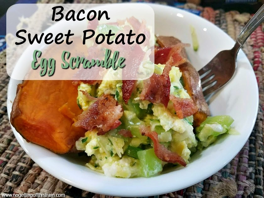 With a little meal prep beforehand, this Bacon Sweet Potato Egg Scramble makes a delicious and healthy breakfast with a good amount of veggies and protein!