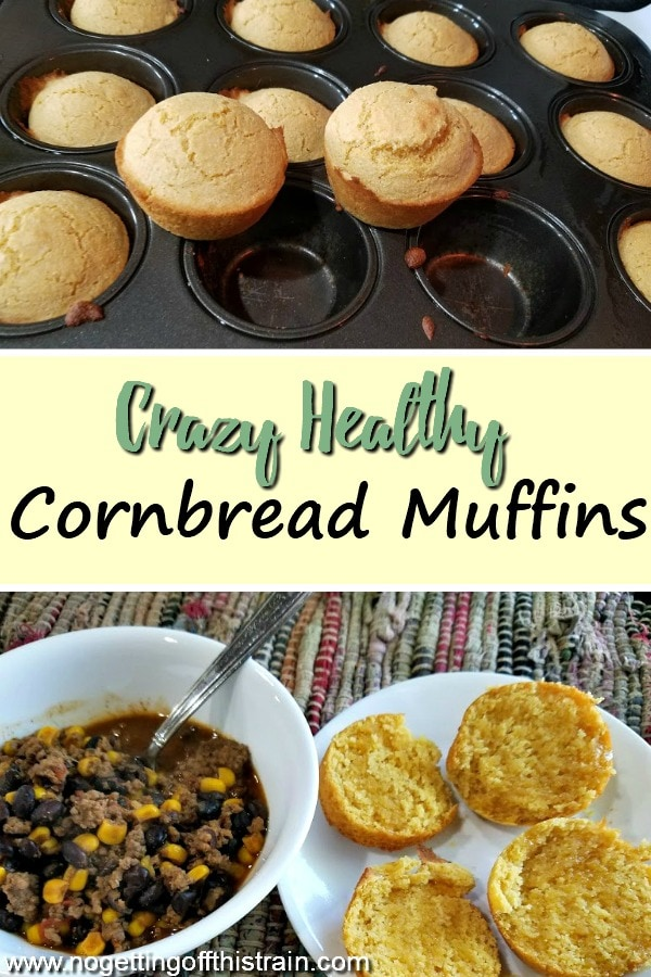 These Crazy Healthy Cornbread Muffins are an easy one-bowl recipe that makes an excellent side dish to any soups or chilis! #cornbread #side #sideitem #healthy