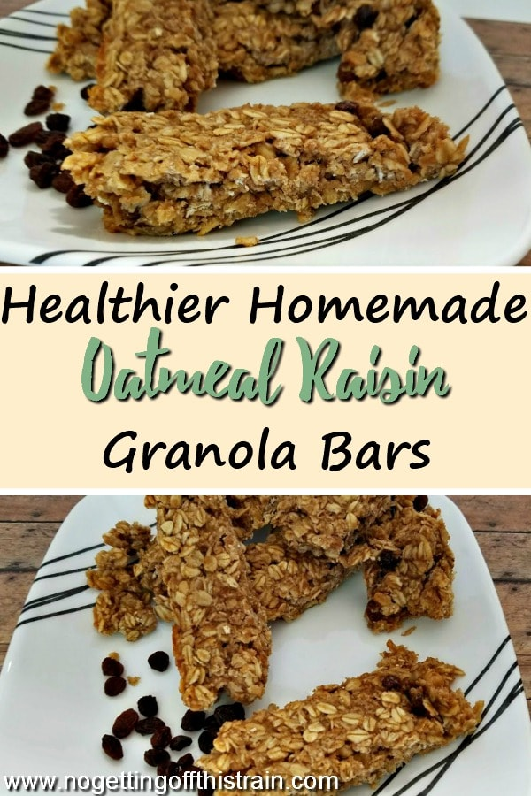 These Homemade Oatmeal Raisin Granola Bars are healthier and cheaper than store-bought! A great frugal snack, and kid friendly too! #snack #recipe #granolabar #healthy #frugal