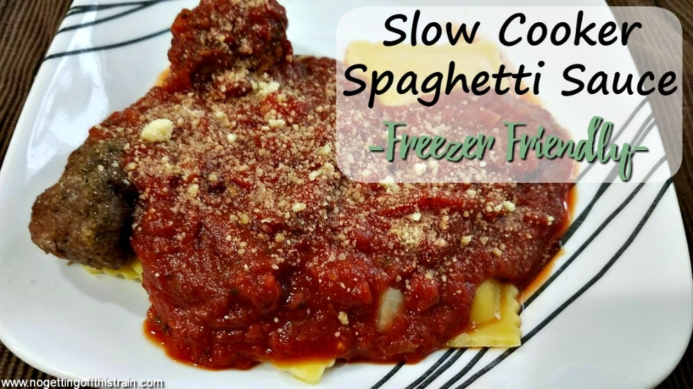 Need an easy, freezer friendly meal for Fall? This Slow Cooker Spaghetti Sauce cooks all day and is perfect for feeding a crowd!