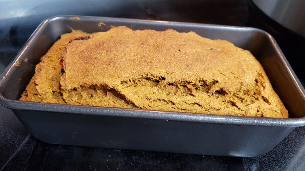Pumpkin bread loaf in a loaf pan