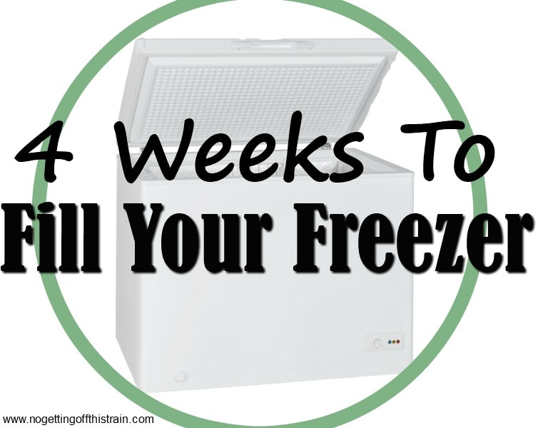 "Image of a freezer with the title ""4 Weeks to Fill Your Freezer"""